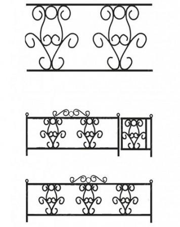 Ограда металлическая С-002 (3 рапорта)