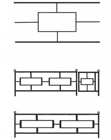 Ограда металлическая С-007 (2 квадрата)