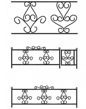 Ограда металлическая С-005 (3 рапорта)